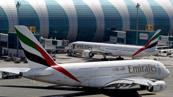 Emirates aircraft  at the Dubai airport in United Arab