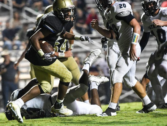 Pendleton's Dion Black spins into the end zone for