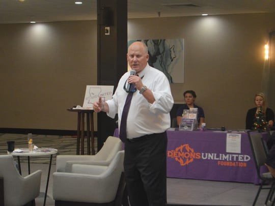 Northwestern State coach Jay Thomas talks about the upcoming season during the Demons' Victory Tour Thursday in Alexandria.