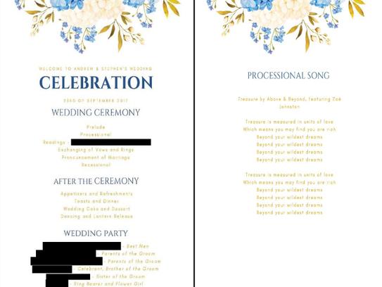 Stephen Heasley and Andrew Borg ordered 100 wedding