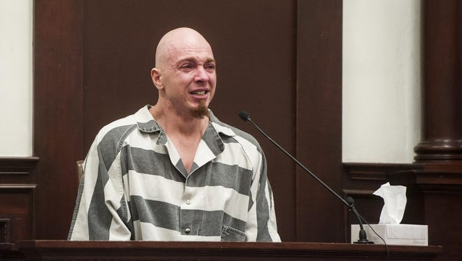 Branden Miesmer pleads guilty to deliberate homicide in the Cascade County Courthouse on Friday.