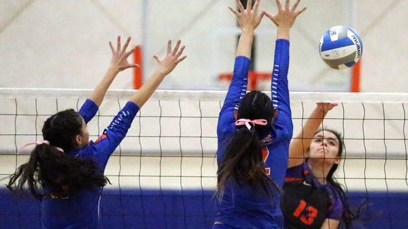 Samantha Carbojal, 13, of Eastlake gets a shot past Canutillo defenders Tuesday night.