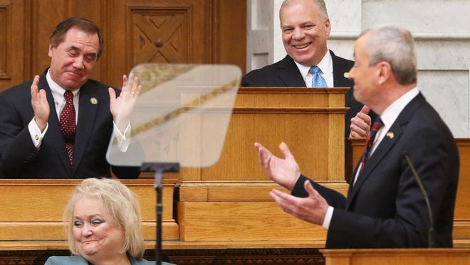 Assembly Speaker Craig Coughlin and Senate President Stephen Sweeney as Governor Phil Murphy acknowledges Coughlin during his address in the Assembly chambers.
