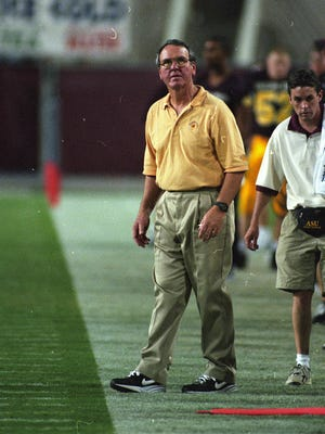 Oct. 5, 1996 - ASU head coach Bruce Snyder looks up at the scoreboard during the game against Boise State at Sun Devil Stadium in Tempe. ASU won the game 56-7.