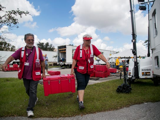 American Red Cross volunteers Richard Corona and Shirley