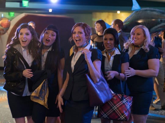 The Barden Bellas — including Anna Kendrick (far left), Hana Mae Lee, Brittany Snow, Chrissie Fit and Rebel Wilson — are back for more musical shenanigans in 'Pitch Perfect 3.'