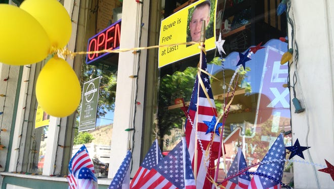 Window display -- before the controversy -- in Sgt. Bowe Bergdahl's hometown of Haley, Idaho.