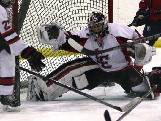 Churchill goalie Andrew Broyles extends his glove for