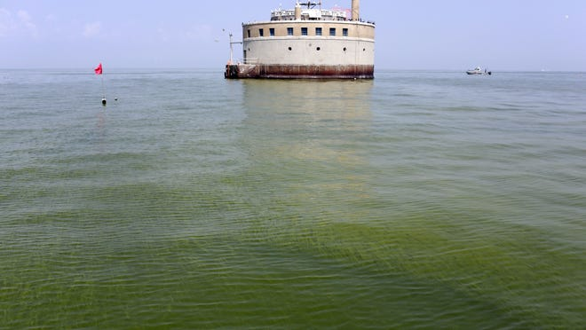 FILE - In this Aug. 3, 2014, file photo, the City of Toledo water intake crib is surrounded by algae in Lake Erie, about 2.5 miles off the shore of Curtice, Ohio. Farmers in Ohio, Michigan and Indiana are being asked to be part of the solution in fixing the algae problem in Lake Erie. Federal officials on Friday, Jan. 16, 2015, outlined a program that will make $17.5 million available to farmers who take steps to reduce the pollutants that wash away from the fields and help the algae thrive. (AP Photo/Haraz N. Ghanbari, File)