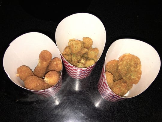 Charley Bigg's Chicken's cheese sticks, fried okra and cheddar jalapeno.