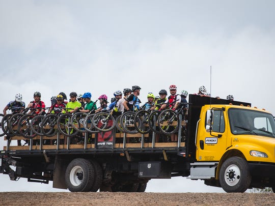 A scene from the 2014 Interbike bicycle trade show's Outdoor Demo Day.