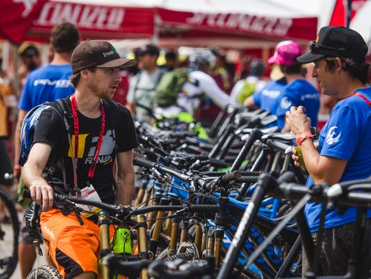 A scene from the 2014 Interbike bicycle trade show's