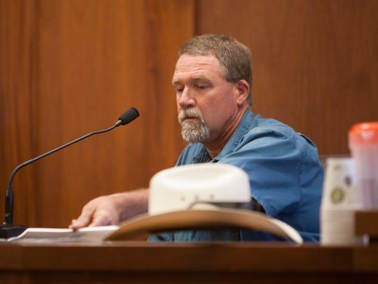 Hurricane High School custodian Leon Gubler testifies June 18, 2018.