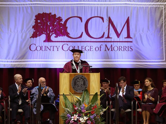 Dr. Anthony J. Iacono gives the Presidents address during his inauguration as the third president of the County College of Morris. October 6, 2017. Randolph, New Jersey