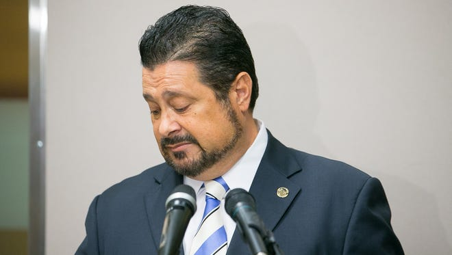 Phoenix Councilman Michael Nowakowski speaks about a land deal at City Hall in Phoenix on Tuesday, October 6, 2015.