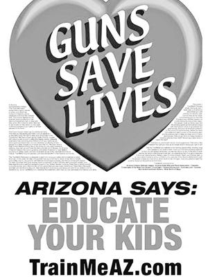 This controversial gun ad, set against the backdrop of a red heart, was banned from Phoenix bus stops in 2010, a move that set off a three-year legal battle between city officials and civil-liberties advocates.