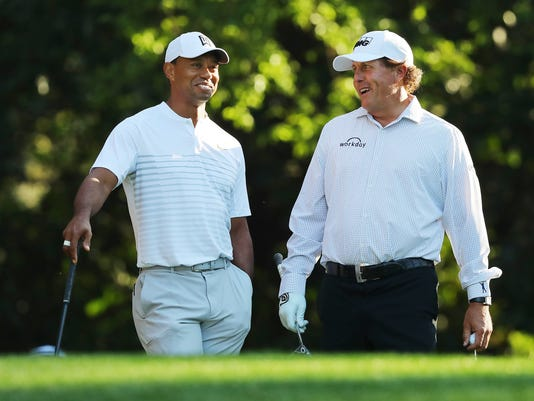 Tiger Woods, Phil Mickelson, Masters practice
