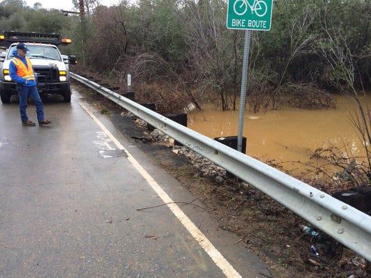 Caltrans crews closed Keswick Dam Road off Lake Boulevard as a culvert flooded.