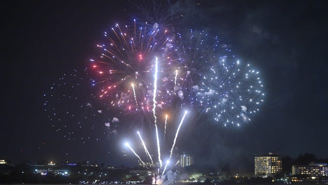 Fireworks explode over Tumon Bay to ring in the new year on Jan. 1, 2017.