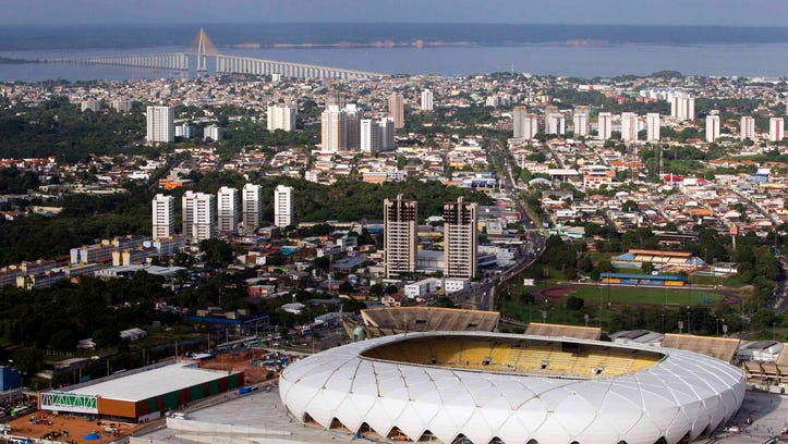 The Arena Amazonia soccer stadium is seen in this aerial view taken two days before its scheduled inauguration, in Manaus, in this file picture taken March 7, 2014.