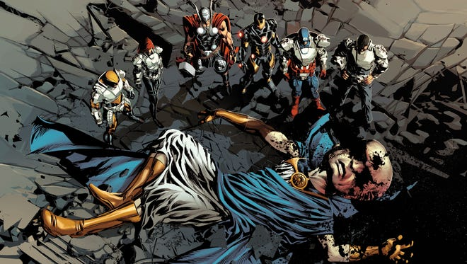"Wolverine, left, Black Widow, Thor, Iron Man, Captain America and Nick Fury investigate the murder of the Watcher in Marvel Comics' ""Original Sin."""