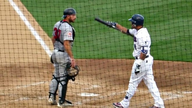 Members of the Somerset Patriots and Lancaster Barnstormers exchange words at home plate Sunday, July 10, 2016, during an incident that saw both teams' benches cleared.