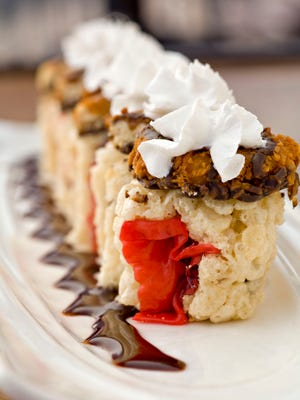 """""""Sushi"""" created using Trefoil and Samoa Girl Scout Cookies, by chef Mike Smith."""