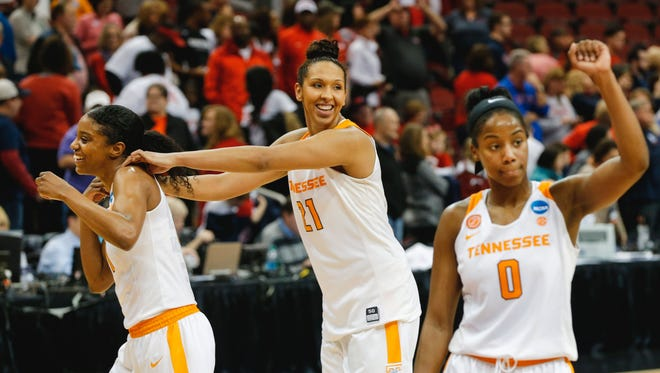 From left, Tennessee's Diamond DeShields and Mercedes Russell have decided to return for their final season, raising hopes and expectations.