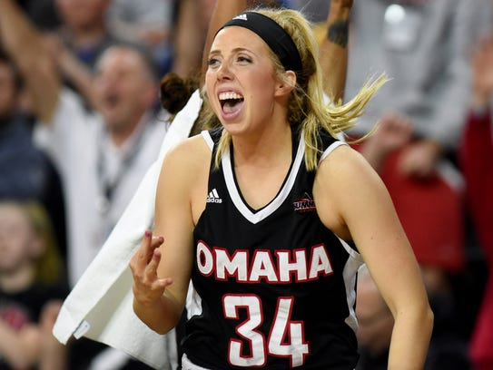 Ellie Brecht reacts during Omaha's Summit League Tournament