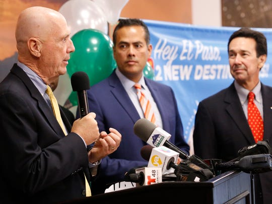 Michael Pewther, left, Frontier Airlines senior director of onboard experience, City Manager Tommy Gonzalez and Borderplex Alliance CEO Jon Barela on Tuesday announce new, nonstop flights from El Paso to Chicago, in addition to previously announced nonstop flights from El Paso to Denver.