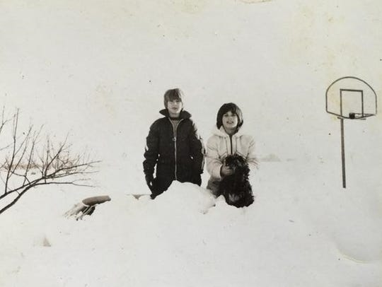 Karen Bean (right) and her brother standing in front