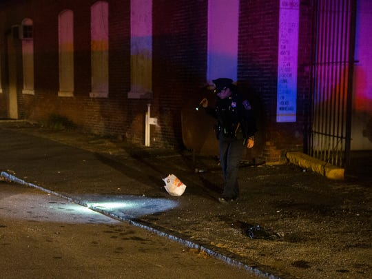 Police investigate a shooting in the 1200 block of North Claymont Street in Wilmington Wednesday night.