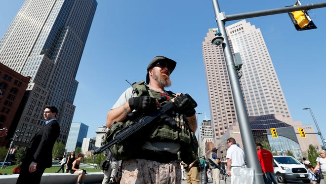 A Second Amendment protester in Cleveland on July 19, 2016.