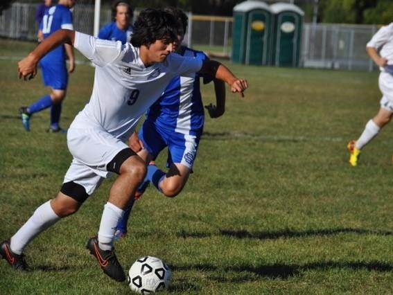 Plymouth Christian bested Southfield Christian Tuesday with help from Nevin Ruiter (No. 9).