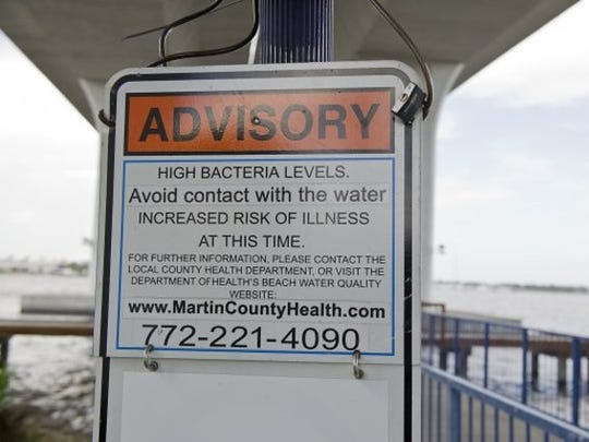 An advisory warning of high bacteria levels in the