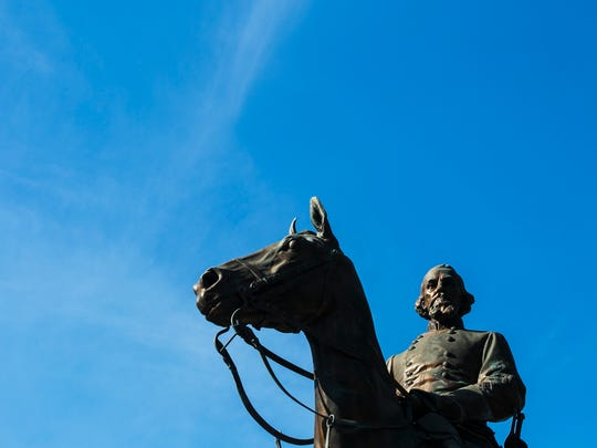 The statue of Nathan Bedford Forrest stands at Health
