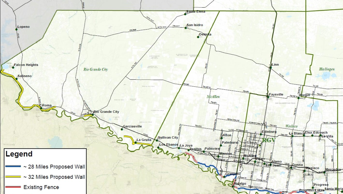 Map Shows Potential Route Of Trumps Border Wall In Texas - Us border fence map