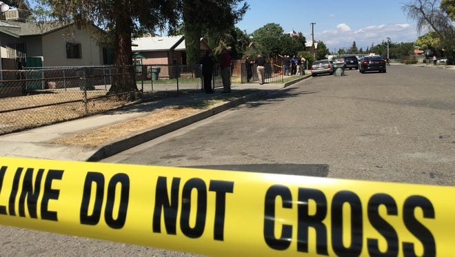 A Visalia man on a tricycle was shot by a police officer Thursday afternoon on NW 2nd Ave.