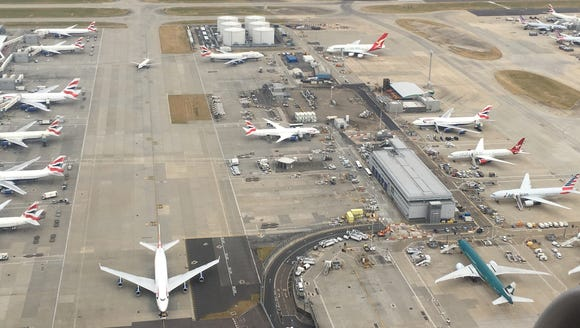 Airfield activity is seen at London Heathrow in this