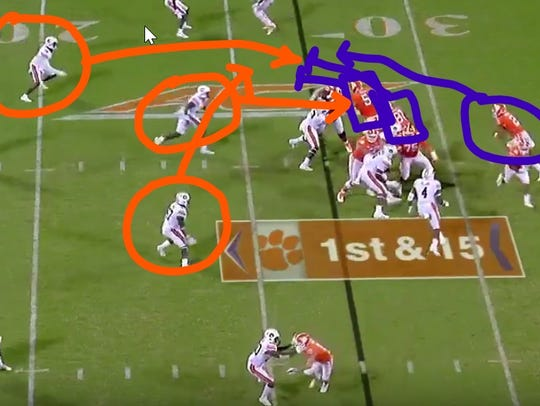 On this touchdown run by Clemson quarterback Kelly