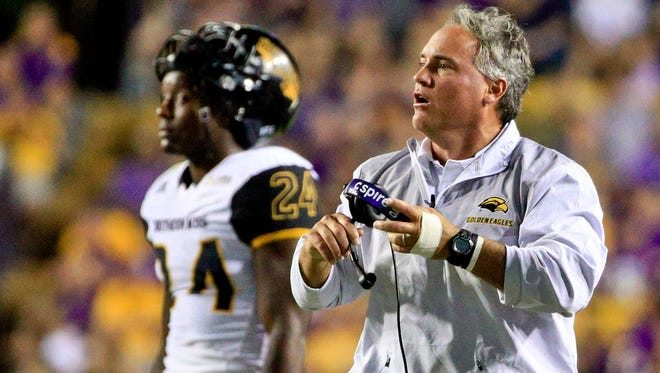 Southern Miss head coach Jay Hopson looks on during the second quarter of the Golden Eagles' game against the LSU Tigers at Tiger Stadium in Baton Rouge.