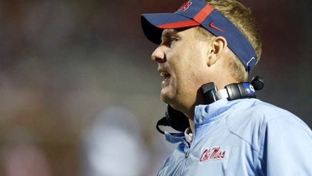 Mississippi coach Hugh Freeze yells at the officials in the second half of an NCAA college football game against Memphis in Oxford, Miss., Saturday, Sept. 27, 2014. No. 10 Mississippi won 24-3. (AP Photo/Rogelio V. Solis)