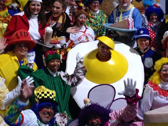 Even fried eggs can be found among clowns in Macy's