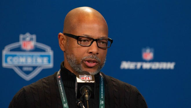 New York Giants senior vice president and general manager Jerry Reese speaks to the media during the 2016 NFL Scouting Combine at Lucas Oil Stadium.