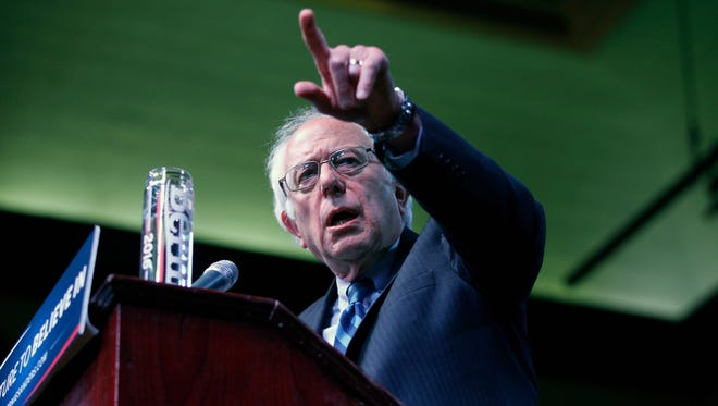 Democratic presidential candidate, Sen. Bernie Sanders, I-Vt. speaks at a campaign rally, Monday, May 9, 2016, in Atlantic City, N.J. (AP Photo/Mel Evans)