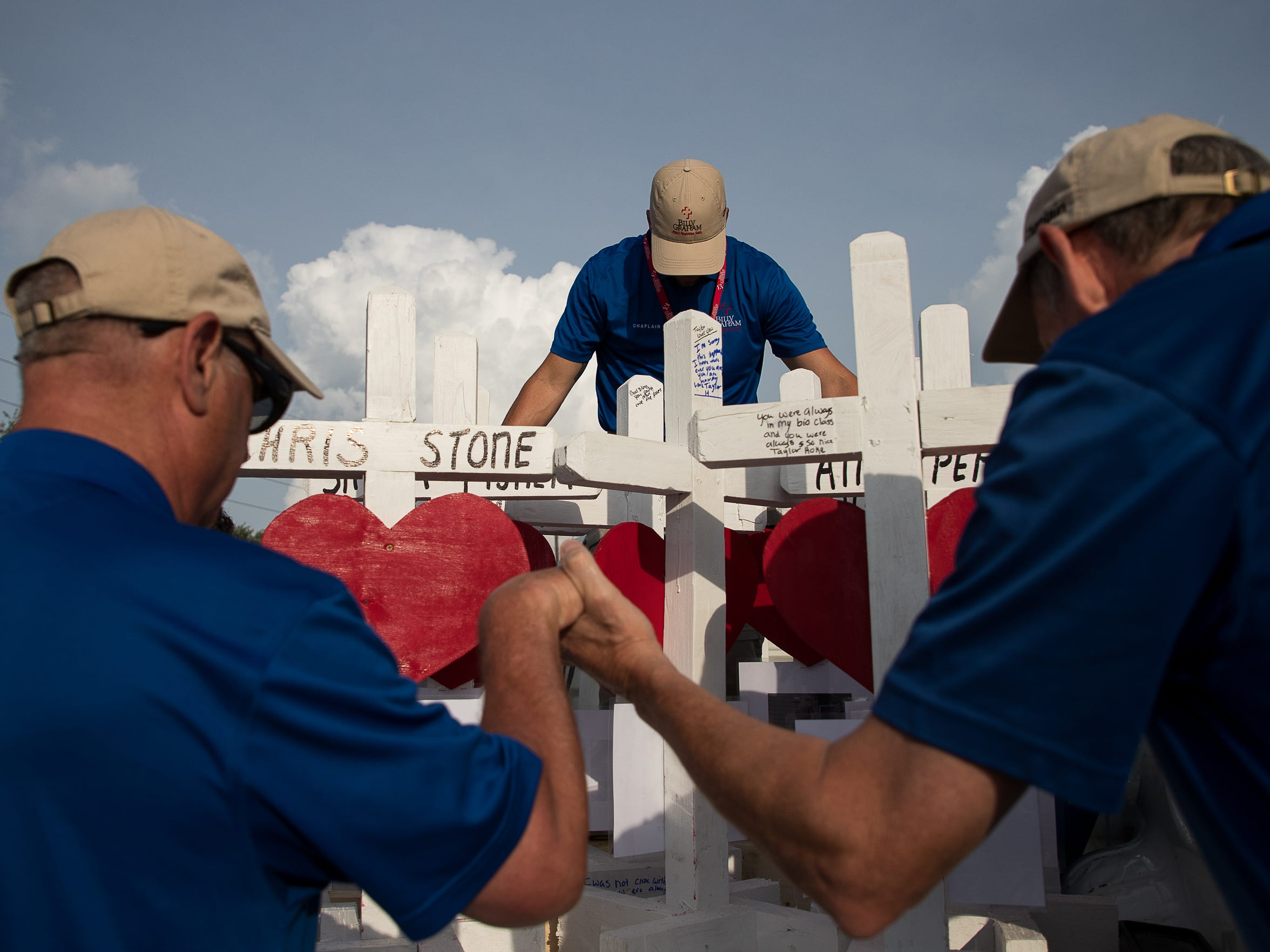 Members of the Billy Graham response team and Crosses