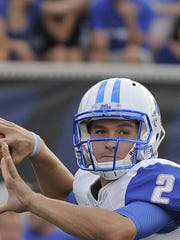 MTSU junior quarterback Austin Grammer completed 65.4 percent of his passes in 2014, the fifth-highest mark in school history.