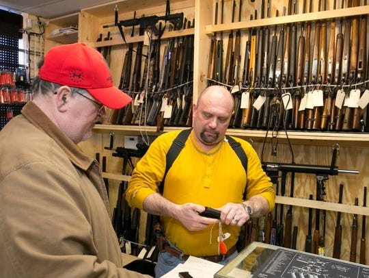 Rich Katchuk (left), Pt. Pleasant, a customer at the