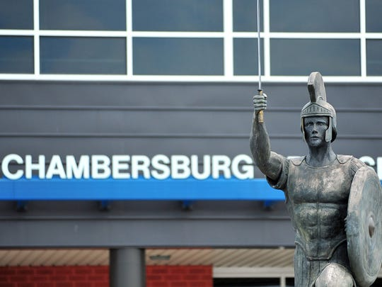 This 2013 file photo shows the Trojan statue in front of Chambersburg Area Senior High School.