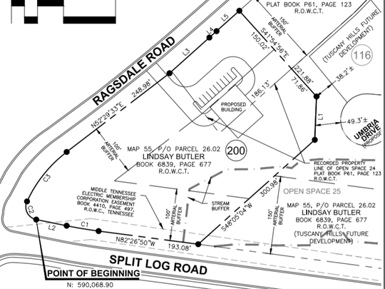 A rendering of the site at the corner of Split Log
